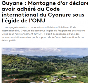 CMO adhère au Code International du Cyanure